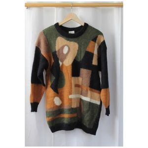 Vintage Mohair Pullover Sweater 80s Abstract Lg.